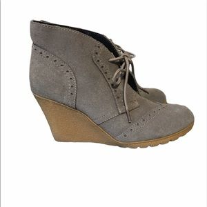 Grey suede ankle booties